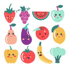 Cute Kawaii fruit and vegetable icons.