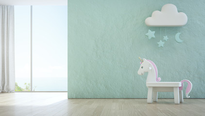 Wall Mural - White toy unicorn on wooden floor of sea view kids room with empty rough blue concrete texture wall background in luxury summer beach house or vacation home. Modern design interior 3d illustration.