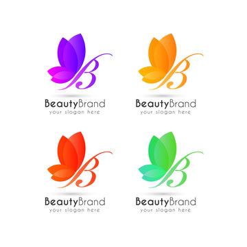 butterfly logo design. letter b logo design template.
