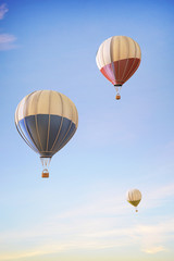 Balloon hot air colorful festival flying over in Clean Sky / 3d render