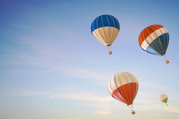 Balloon hot air colorful Ascending festival flying over on Clean Sky Background / 3d render