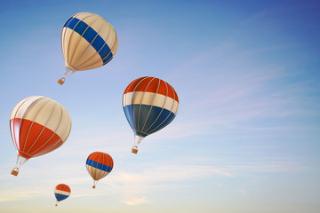 Balloon hot air colorful festival Ascending flying over in The Sky / 3d render