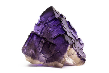 Raw nature fluorite on a white background