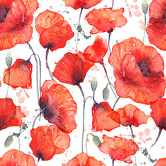 Watercolor seamless pattern with wild red poppies