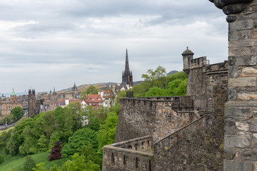 Aerial view at city of Edinburgh with St. Giles Cathedral and Arthurs Seat from Edinburgh castle
