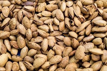 Unpeeled almonds on a market in  Pollença, Mallorca