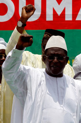 Soumaila Cisse, leader of opposition party URD (Union for the Republic and Democracy), gestures during a rally in Bamako, ahead of the second round of Mali's presidential election