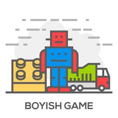 Boyish Games Flat Line Concept Illustration.