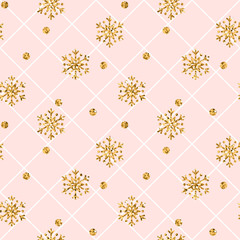 Christmas gold snowflake seamless pattern. Golden snowflakes on pink and white rhombus background. Winter snow texture wallpaper. Symbol holiday, New Year celebration. Vector illustration