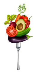 illustration with a fork and vegetables on a white background