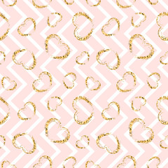 Gold heart seamless pattern. Blue-white geometric stripes, golden grunge confetti-hearts. Symbol of love, Valentine day holiday. Design wallpaper, background, fabric texture. Vector illustration