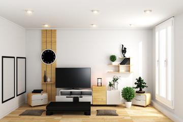 TV in modern white empty room interior minimal designs - Japanese style. 3d rendering