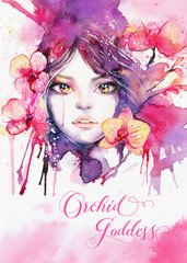Orchid goddess - Greeting card template with watercolor beautiful woman and pink orchid flowers