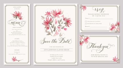 Set of wedding invitation card templates with watercolor stylized pink dahlia
