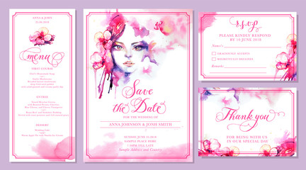Set of wedding invitation card templates - watercolor beautiful woman and pink orchid flowers