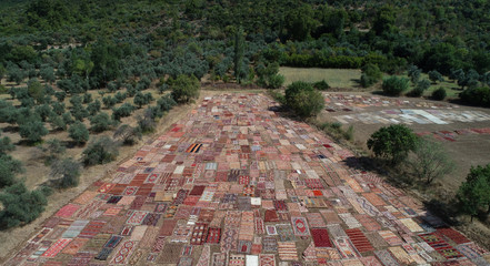 Carpets are laid out to fields to soften their colors under sizzling sun are seen in Dosemealti