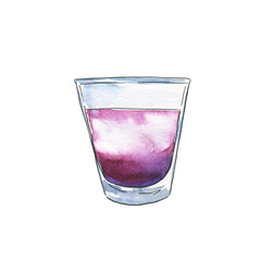 Glass of violet cocktail with berry syrup. Hand drawn watercolor and ink illustration.