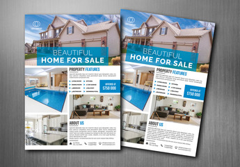 Real Estate Flyer with Blue Accents