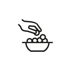Cheese balls line icon. Hand, taking, eating. Food concept. Vector illustration can be used for topics like dish, lunch, cooking