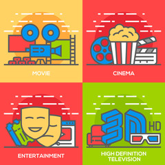Movie, Entertainment, Cinema and High Definition Television Flat Line Concept Illustration.