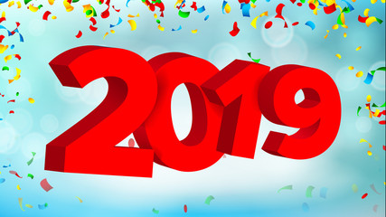 2019 3D Sign Vector. Numbers 2019 Sign. Modern Christmas Brochure. Seasonal Flyer. Holiday Happy New Year Celebration Banner, Card. Illustration