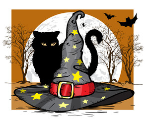 Cat and wizard hat. Halloween concept. Vector illustration.