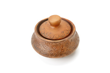 Clay pot isolated on white background.
