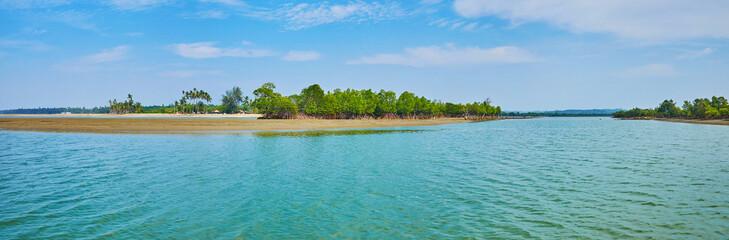 Panorama of river's estuary at Bengal Bay, Chaung Tha, Myanmar