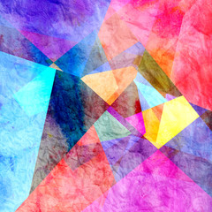 Watercolor color abstract geometric background