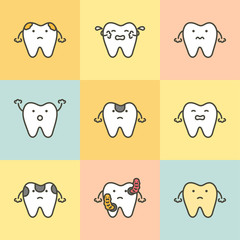 set of dental care, element for tooth concept ( decay, yellow, bacteria, sensitive ) - teeth cartoon vector flat style