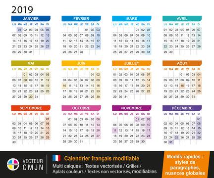 Calendrier français 2019 modifiable