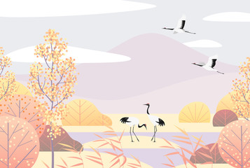 Simple Autumn Lanscape with Red-crowned Cranes