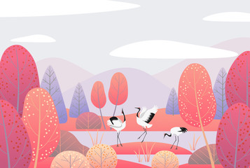 Autumn  Scene with Japanese Cranes and Red Trees