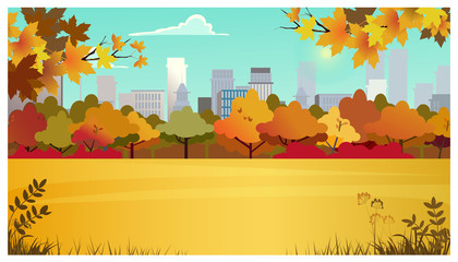 Suburban area with meadow, autumn trees and city buildings in background. Cityscape, nature concept. Flat style vector illustration. For leaflets, brochures, wallpapers, posters or banners.