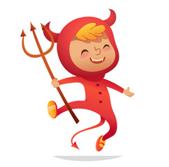 Halloween Kids Costume Party. Boy in halloween devil costume laughing and dancing. Cartoon vector Character for party, invitations, web, mascot. Isolated