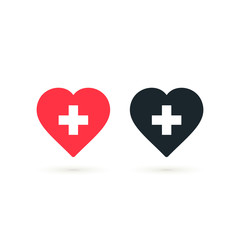 Heart with cross icon set, Vector health care isolated symbol