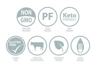 Supplement, Vitamin, Health Food Icons Set