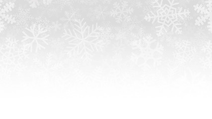 Christmas illustration of many layers of snowflakes of different shapes, sizes and transparency. On gradient background from gray to white.