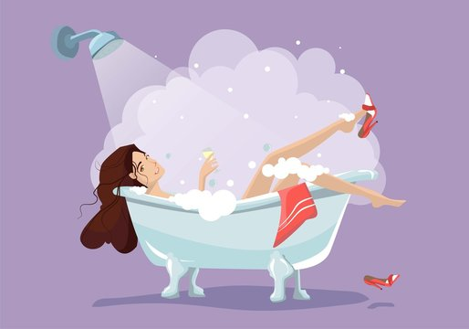 Woman relaxing in bathtub. Bath with foam isolated on background. Spa in bathroom interior. Vector illustration. Flat style design.