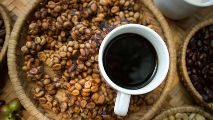 Kopi luwak or civet coffee, Coffee beans excreted by the civet.