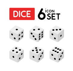 Set of Dice with numbers from One to Six - Vector icons isolated on white.