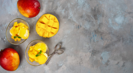 Mango sorbet in two glass cups on concrete background