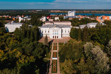 Tomsk State University TSU Siberia, Russia. Drone aerial top view.