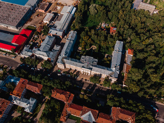 Tomsk Polytechnic University TPU Siberia, Russia. Drone aerial top view.