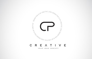 CP C P Logo Design with Black and White Creative Text Letter Vector.