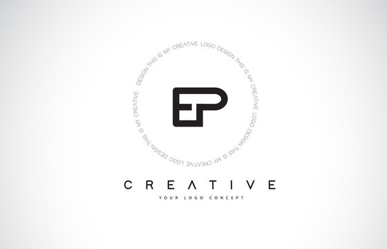 EP E P Logo Design with Black and White Creative Text Letter Vector.