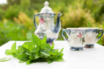 Mint tea with a couple at the table in the garden