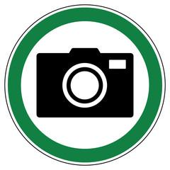 srg385 SignRoundGreen - german - ez385 ErlaubnisZeichen: Fotografieren erlaubt / genehmigt / Erlaubnis - english - approved: photography permitted / camera allowed - green g6454