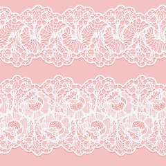 Set of lace seamless borders. White floral ribbons on pink background. Openwork element for design.