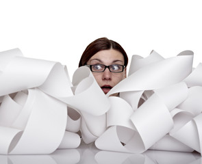 business woman office papers documents stack accounting roll